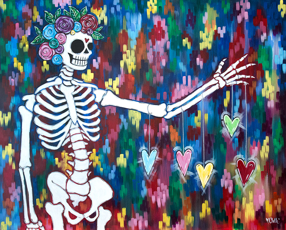 Loves Bones Acrylic Painting Skeleton and Hearts