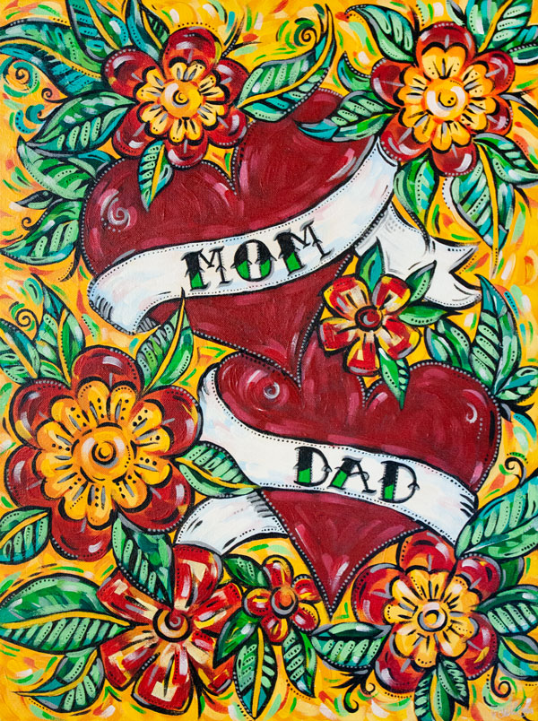 Love Mom and Dad Tattoo-style Painting