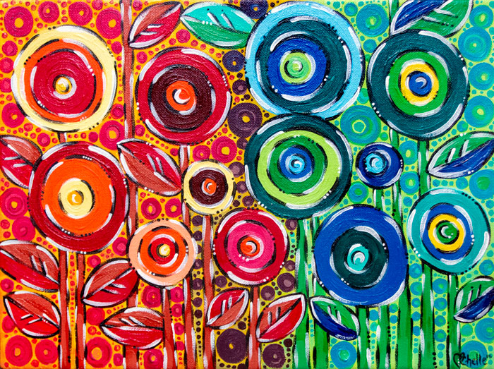 Rainbow Poppies Acrylic Painting