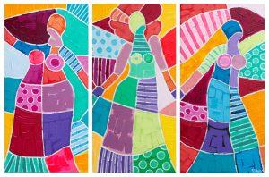 The Three Acrylic Folk Art Painting of Three People