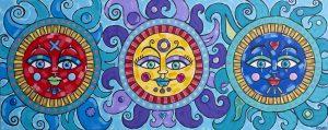 Three Suns Acrylic Painting Folk Art