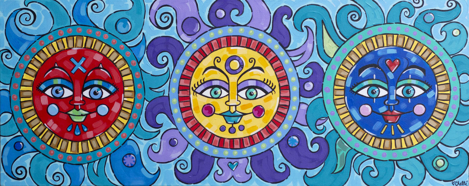 Three Suns Acrylic Painting Folk Art