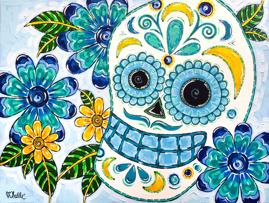 Janai Sugar Skull Commission Acrylic Painting