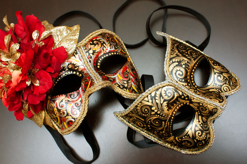 Hand Painted Masks with Gold and Silver Trim