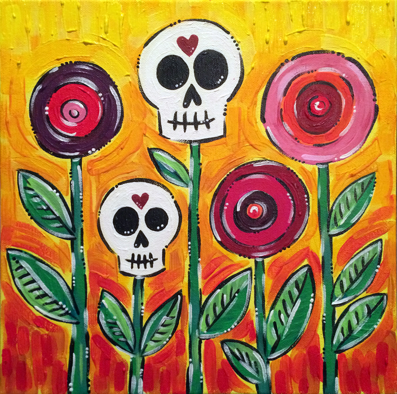 Spring Skull Poppies Acrylic Painting