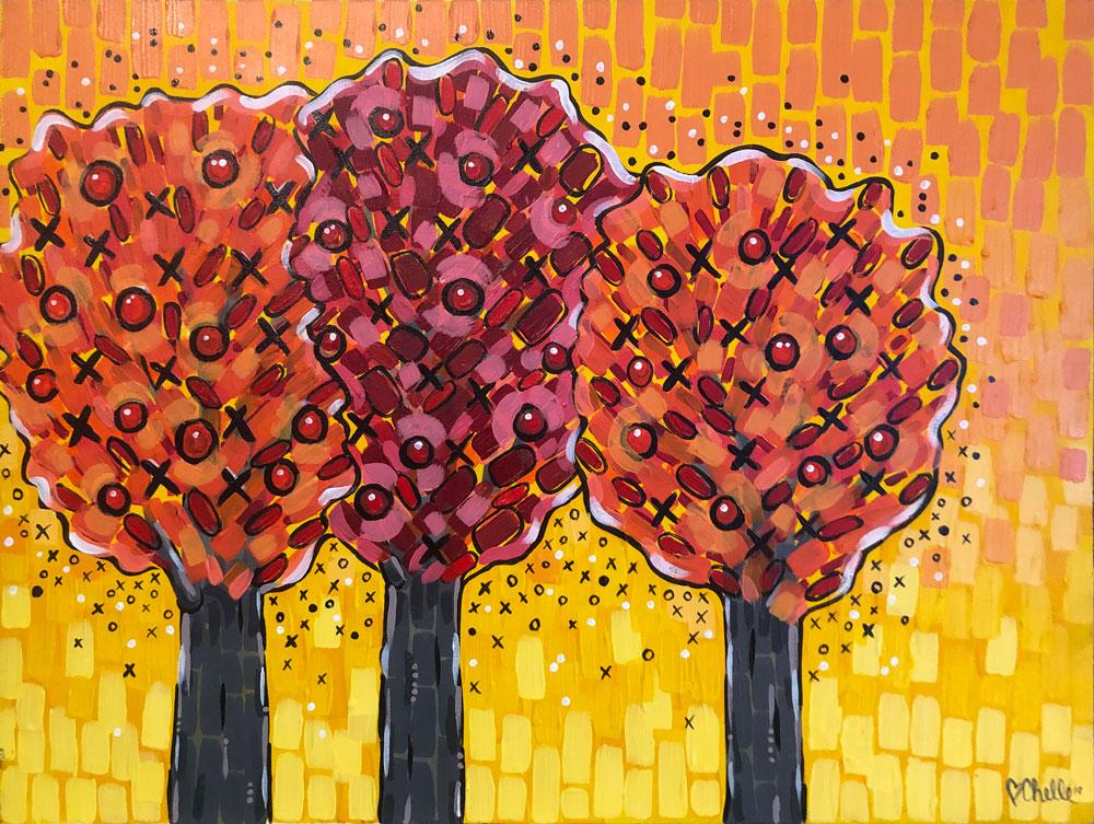 Warm XO Trees Acrylic Painting