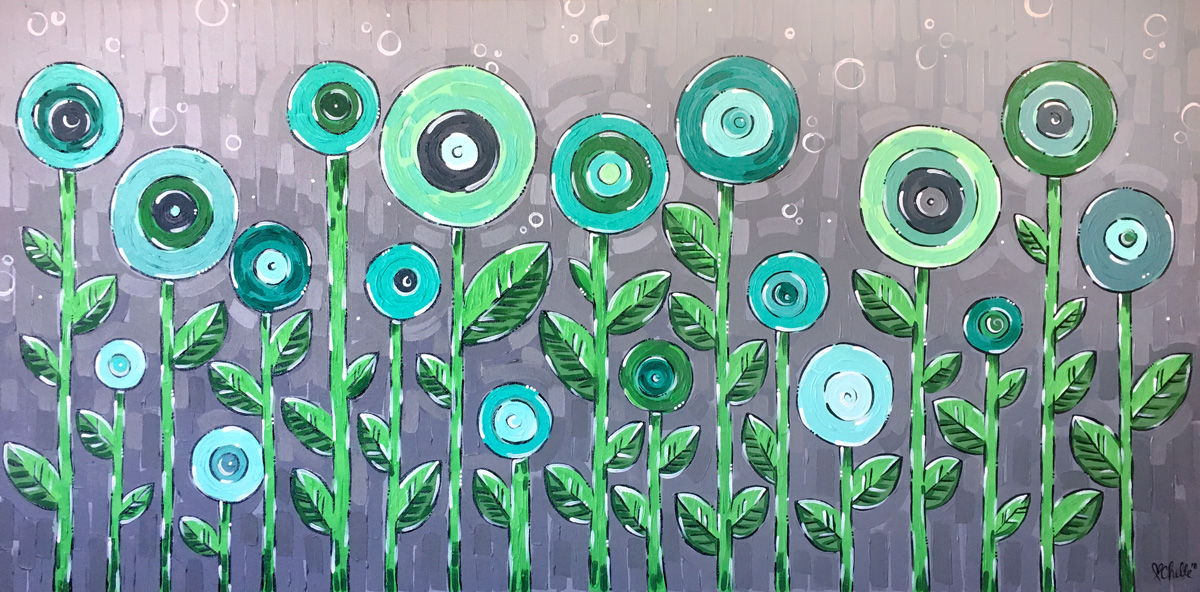 Green Poppies Acrylic Painting