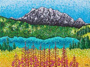 Emerald Lake Yukon Folk Art Landscape Painting